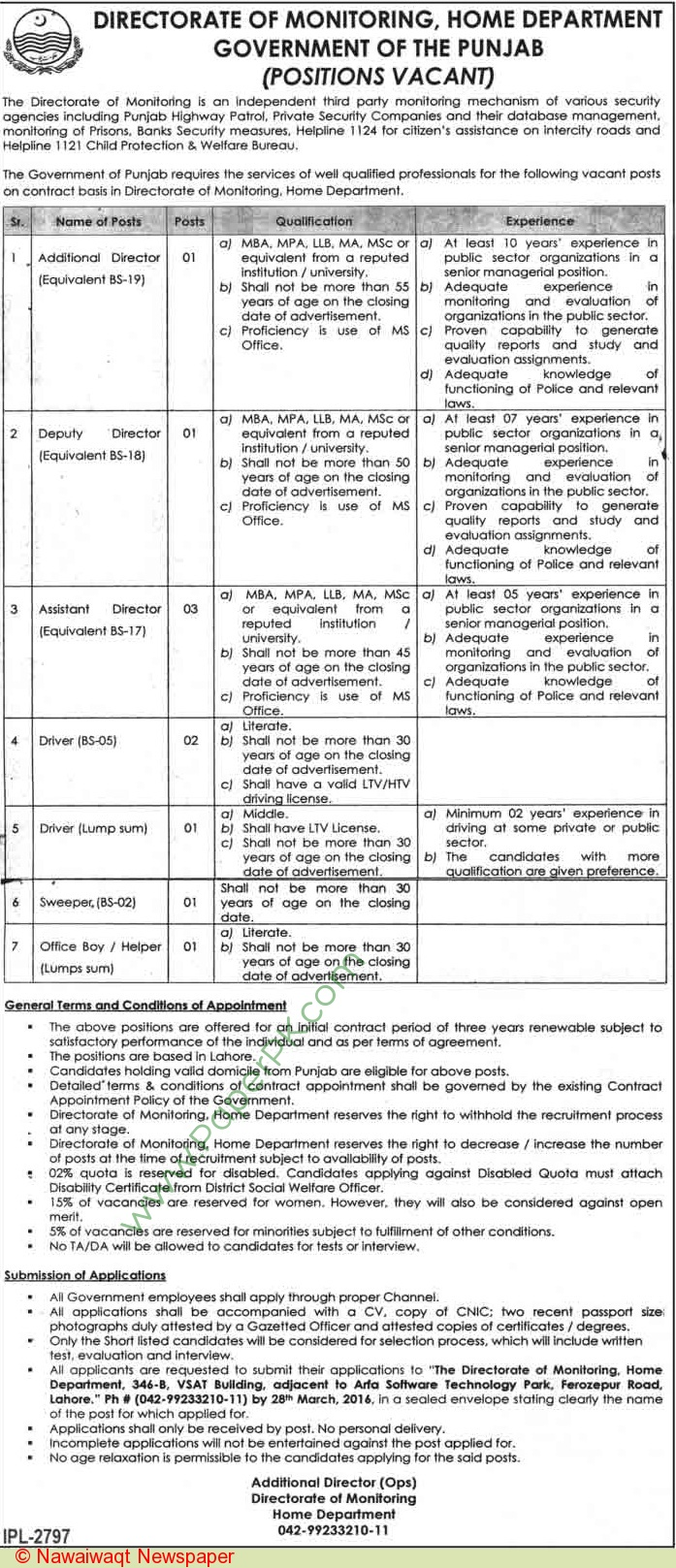 Directorate-Of-Monitoring-Home-Department-Lahore-Jobs